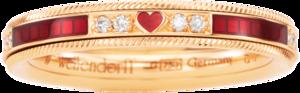 Ring Wellendorff Unser Glück. Rosenrot aus 750 Gelbgold und Wellendorff-Kaltemaille mit 21 Brillanten (0,202 Karat)