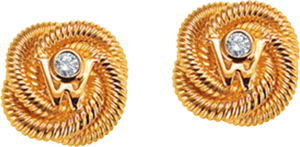 Ohrstecker Wellendorff Seidenknoten aus 750 Gelbgold mit 2 Brillanten (2 x 0,017 Karat)