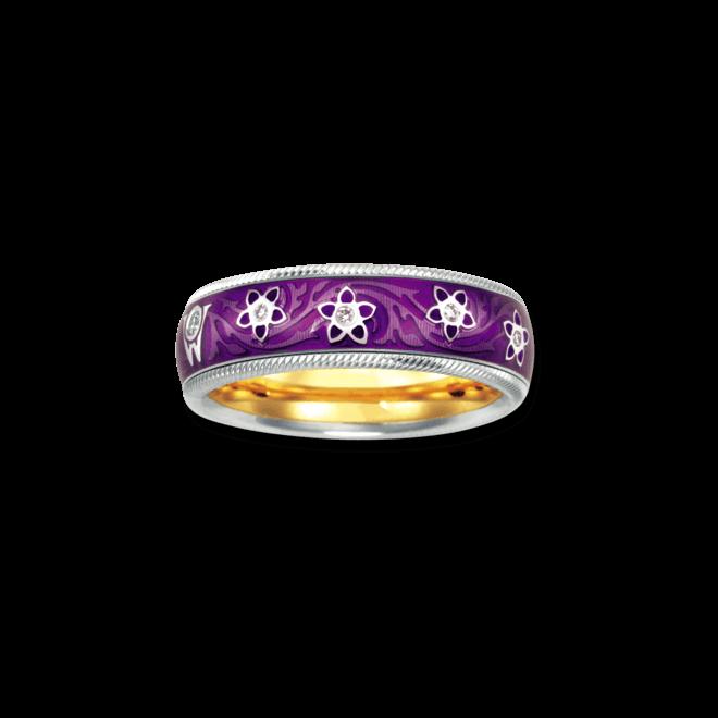 Ring Wellendorff Aubergine aus 750 Weißgold und Emaille mit mehreren Brillanten (0,08 Karat)