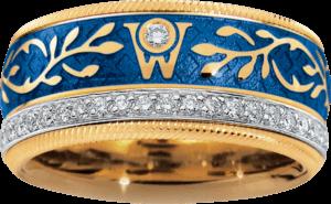 Ring Wellendorff Edel Vergissmeinnicht aus 750 Gelbgold und Emaille mit mehreren Brillanten (0,487 Karat)