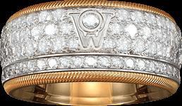 Ring Wellendorff Goldener Brillantkuss aus 750 Weißgold und 750 Gelbgold mit mehreren Brillanten (2,01 Karat)