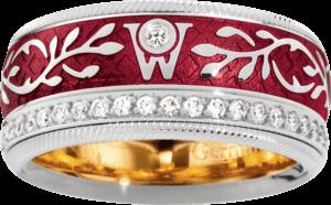 Ring Wellendorff Roter Mohn aus 750 Weißgold und Emaille mit mehreren Brillanten (0,487 Karat)