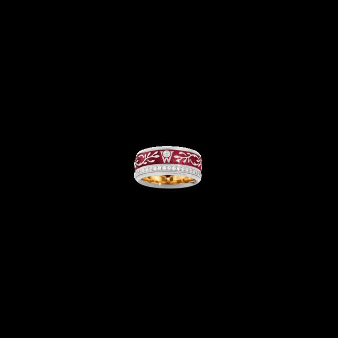 Ronde Wellendorff Roter Mohn aus 750 Weißgold und Emaille mit mehreren Brillanten (1,04 Karat)