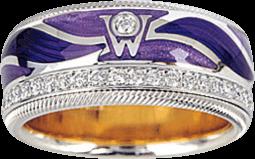 Ring Wellendorff Purpurflügel aus 750 Weißgold und Wellendorff-Kaltemaille mit mehreren Brillanten (0,487 Karat)