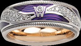 Ring Wellendorff Purpurkuss aus 750 Weißgold und Emaille mit mehreren Brillanten (0,336 Karat)