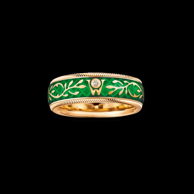 Ring Wellendorff Efeu aus 750 Gelbgold und Emaille mit 1 Brillant (0,017 Karat)