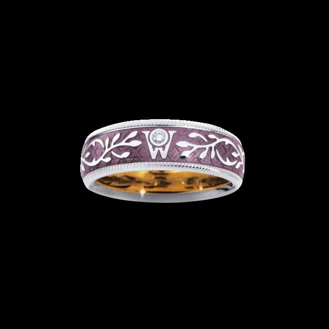 Ring Wellendorff Flieder aus 750 Weißgold und Emaille mit 1 Brillant (0,017 Karat)