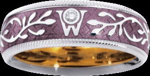 Ring Wellendorff Flieder aus 750 Weißgold und Wellendorff-Kaltemaille mit 1 Brillant (0,017 Karat)