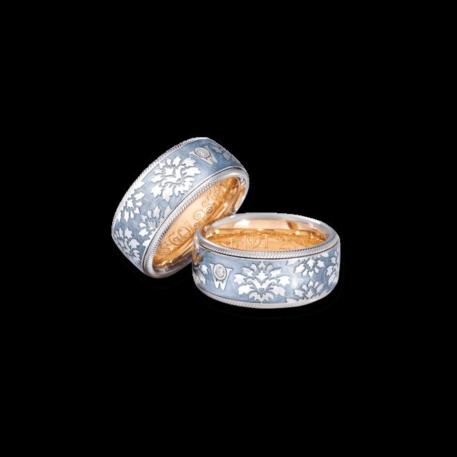 Ring Wellendorff Goldstadt 250 aus 750 Weißgold und Emaille mit 1 Brillant (0,017 Karat)