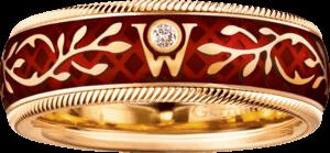 Ring Wellendorff Hibiscus aus 750 Gelbgold und Wellendorff-Kaltemaille mit 1 Brillant (0,017 Karat)