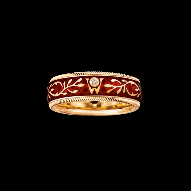 Ring Wellendorff Hibiscus aus 750 Gelbgold und Emaille mit 1 Brillant (0,017 Karat)