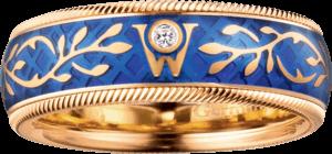 Ring Wellendorff Vergissmeinnicht aus 750 Gelbgold und Wellendorff-Kaltemaille mit 1 Brillant (0,017 Karat)