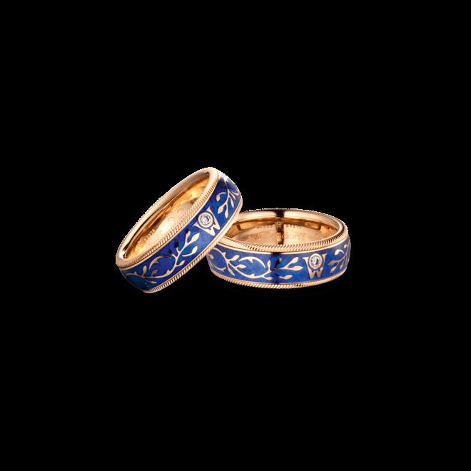 Ring Wellendorff Vergissmeinnicht aus 750 Gelbgold und Wellendorff-Kaltemaille mit 1 Brillant (0,017 Karat) bei Brogle