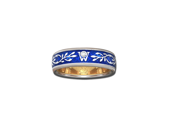 Ring Wellendorff Vergissmeinnicht aus 750 Weißgold und Emaille mit 1 Brillant (0,017 Karat)