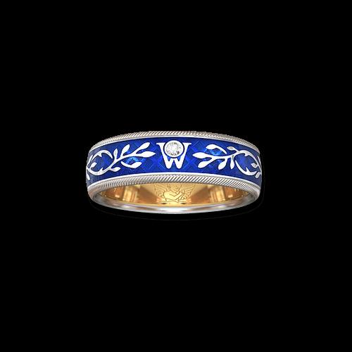 Ring Wellendorff Vergissmeinnicht aus 750 Weißgold und Wellendorff-Kaltemaille mit 1 Brillant (0,017 Karat)