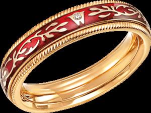 Ring Wellendorff Chili-Fantasie aus 750 Gelbgold und Emaille mit 1 Brillant (0,005 Karat)