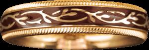 Ring Wellendorff Nougat-Fantasie aus 750 Gelbgold und Wellendorff-Kaltemaille mit 1 Brillant (0,005 Karat)