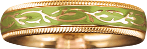 Ring Wellendorff Pistazien-Fantasie aus 750 Gelbgold und Wellendorff-Kaltemaille mit 1 Brillant (0,005 Karat)
