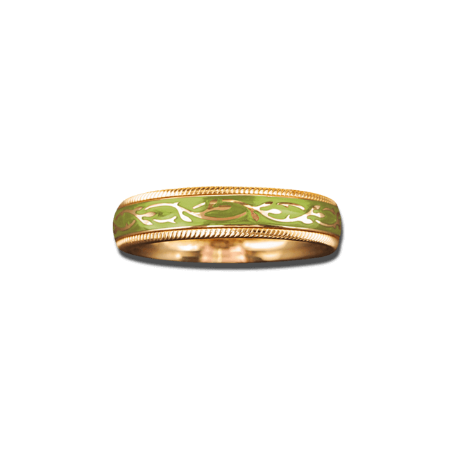 Ring Wellendorff Pistazien-Fantasie aus 750 Gelbgold und Emaille mit 1 Brillant (0,005 Karat)