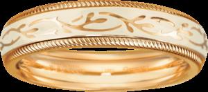 Ring Wellendorff Vanille-Fantasie aus 750 Gelbgold und Wellendorff-Kaltemaille mit 1 Brillant (0,005 Karat)