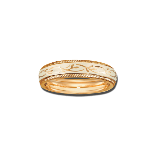 Ring Wellendorff Vanille-Fantasie aus 750 Gelbgold und Emaille mit 1 Brillant (0,005 Karat)