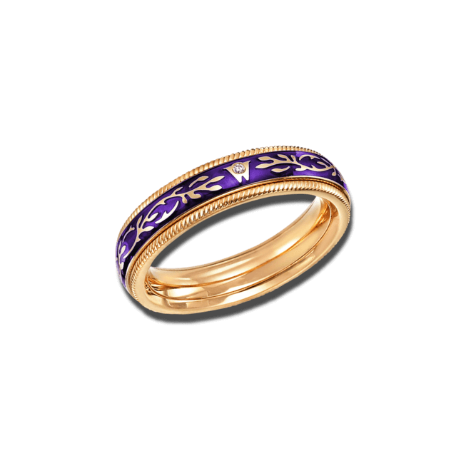 Ring Wellendorff Veilchen-Fantasie aus 750 Gelbgold und Wellendorff-Kaltemaille mit 1 Brillant (0,005 Karat) bei Brogle