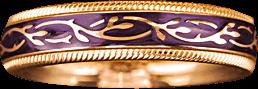 Ring Wellendorff Veilchen-Fantasie aus 750 Gelbgold und Emaille mit 1 Brillant (0,005 Karat)