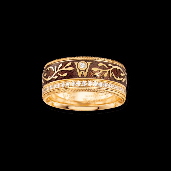 Ring Wellendorff Karamell aus 750 Gelbgold und Emaille mit mehreren Brillanten (0,49 Karat)