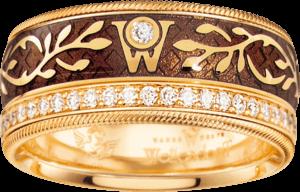 Ring Wellendorff Karamell aus 750 Gelbgold und Wellendorff-Kaltemaille mit mehreren Brillanten (0,49 Karat)