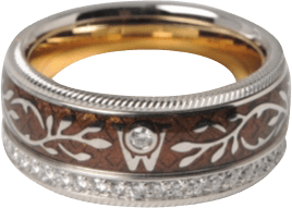Ring Wellendorff Karamell aus 750 Weißgold und Emaille mit mehreren Brillanten (0,49 Karat)