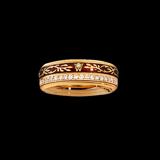 Ring Wellendorff Mokka aus 750 Gelbgold und Wellendorff-Kaltemaille mit mehreren Brillanten (0,455 Karat)