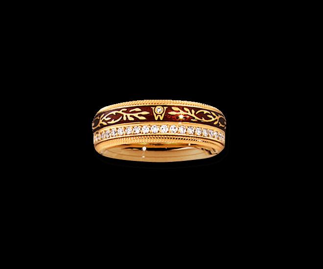 Ring Wellendorff Mokka aus 750 Gelbgold und Emaille mit mehreren Brillanten (0,455 Karat)