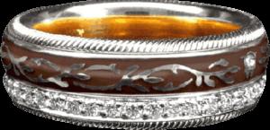 Ring Wellendorff Mokka aus 750 Weißgold und Wellendorff-Kaltemaille mit mehreren Brillanten (0,455 Karat)