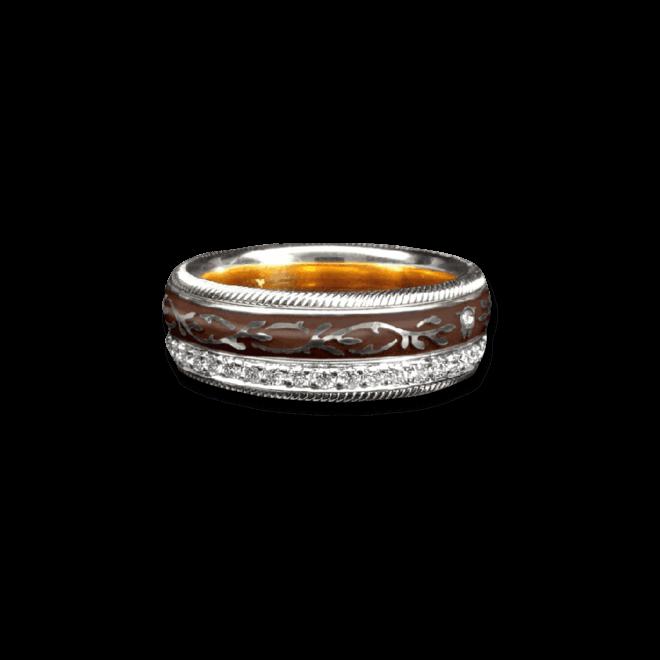 Ring Wellendorff Mokka aus 750 Weißgold und Emaille mit mehreren Brillanten (0,455 Karat)