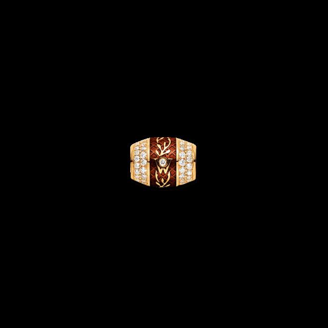 Ronde Wellendorff Mokka aus 750 Gelbgold und Emaille mit mehreren Brillanten (1,04 Karat)
