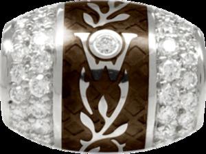 Ronde Wellendorff Mokka aus 750 Weißgold und Wellendorff-Kaltemaille mit mehreren Brillanten (1,04 Karat)
