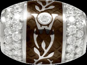 Ronde Wellendorff Mokka aus 750 Weißgold und Emaille mit mehreren Brillanten (1,04 Karat)