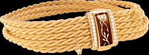 Armband Wellendorff Mokkatraum aus 750 Gelbgold und Emaille mit mehreren Brillanten (0,24 Karat)