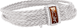 Armband Wellendorff Mokkatraum aus 750 Weißgold und Emaille mit mehreren Brillanten (0,24 Karat)