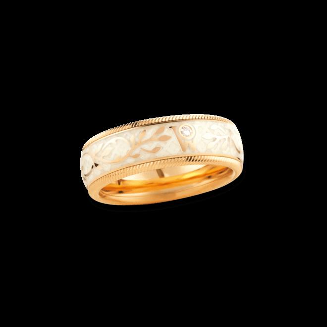 Ring Wellendorff Trüffel aus 750 Gelbgold und Emaille mit 1 Brillant (0,017 Karat)