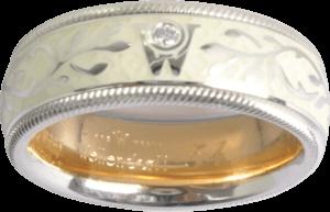 Ring Wellendorff Trüffel aus 750 Weißgold und Wellendorff-Kaltemaille mit 1 Brillant (0,017 Karat)
