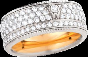 Ring Wellendorff Zuckerkuss aus 750 Weißgold mit mehreren Brillanten (2,1 Karat)
