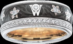 Ring Wellendorff Schwarze Seide aus 750 Weißgold und Wellendorff-Kaltemaille mit mehreren Brillanten (0,537 Karat)