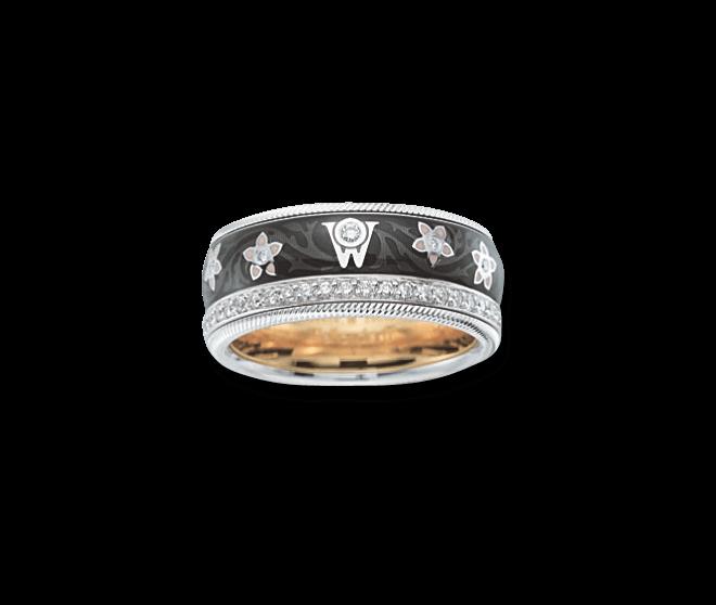 Ring Wellendorff Schwarze Seide aus 750 Weißgold und Wellendorff-Kaltemaille mit mehreren Brillanten (0,537 Karat) bei Brogle