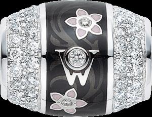Ronde Wellendorff Schwarze Seide aus 750 Weißgold und Wellendorff-Kaltemaille mit mehreren Brillanten (1,08 Karat)
