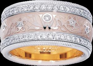 Ring Wellendorff Seidenblüte aus 750 Weißgold und Emaille mit mehreren Brillanten (1,007 Karat)