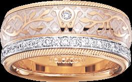 Ring Wellendorff Seidenglanz aus 750 Gelbgold und Emaille mit mehreren Brillanten (0,487 Karat)