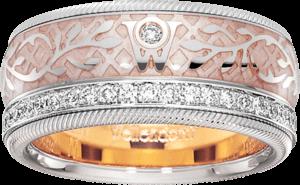 Ring Wellendorff Seidenglanz aus 750 Weißgold und Wellendorff-Kaltemaille mit mehreren Brillanten (0,487 Karat)