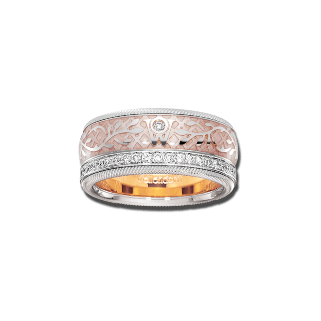 Ring Wellendorff Seidenglanz aus 750 Weißgold und Wellendorff-Kaltemaille mit mehreren Brillanten (0,487 Karat) bei Brogle