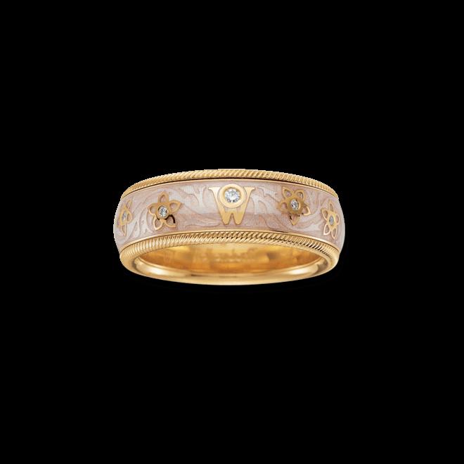 Ring Wellendorff Seidenschimmer aus 750 Gelbgold und Emaille mit mehreren Brillanten (0,08 Karat)